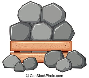 Pile of rock in wooden box illustration
