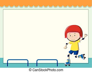 Paper template with boy rollerskating illustration