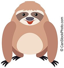 Cute sloth with happy face illustration