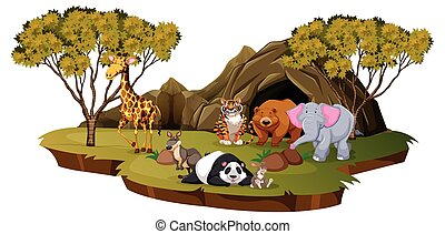 Mountain scene with many animals
