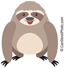 Gray sloth with happy face illustration