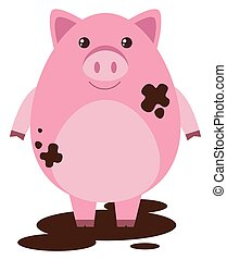 Pink pig in muddy puddle illustration