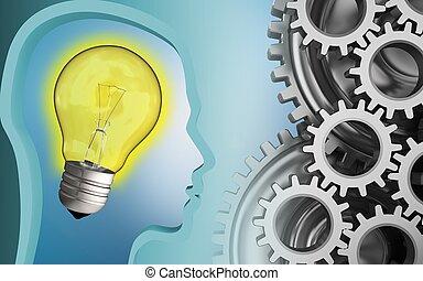 3d mechanic - 3d illustration of light bulb over blue...