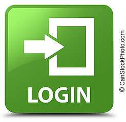 Login soft green square button - Login isolated on soft...