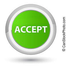 Accept prime soft green round button