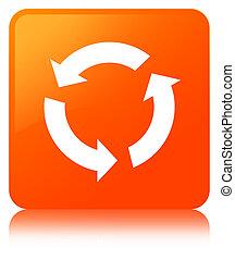 橙, 按鈕, 廣場, 刷新, 圖象
