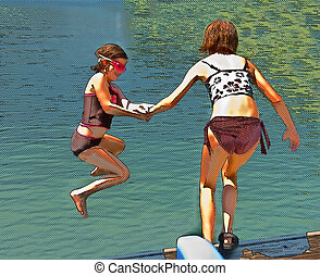 Girls Jumping in Water Halftone Style