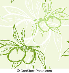 green olive seamless pattern - vector floral seamless...