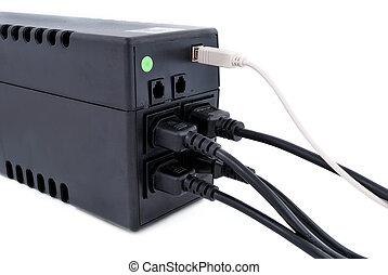 ups - wires connected to an ups on a white background