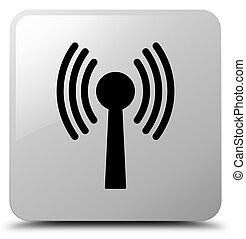 Wlan network icon white square button - Wlan network icon...