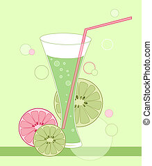 glass with lime drink