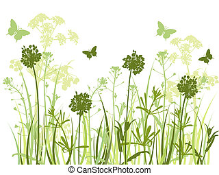 green grass background - floral background with green grass...