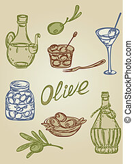 retro olive icons - hand-drown retro icons with olive fruit...
