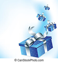 Gifts background - Flying gift boxes with silver...