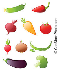 vegetables icon set - colored glossy vegetables icon set