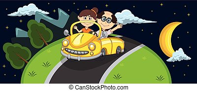 Car, a couple old passengers passes through the hill at night background cartoon