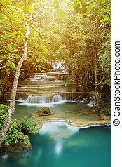 Level 1 of Huay Mae Kamin waterfall in Khuean Srinagarindra...