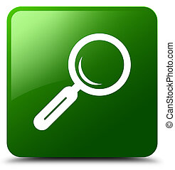 Magnifying glass icon green square button