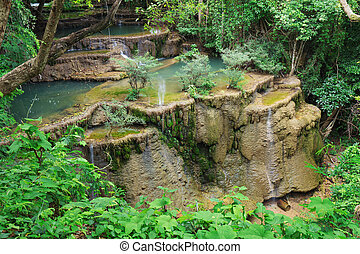 Level 4 of Huay Mae Kamin waterfall dry out in summer,...