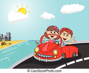 car, a couple young passengers with beach background cartoon