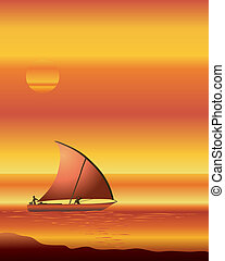 dhow at sunset - an illustration of a dhow boat sailing on...