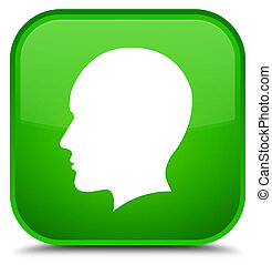 Head men face icon special green square button