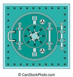 bank vault lines icon - Heavy metal door to safe. Bank vault...