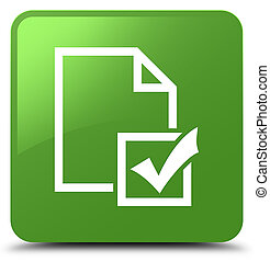 Survey icon soft green square button - Survey icon isolated...