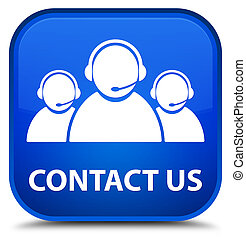 Contact us (customer care team icon) special blue square button