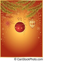 red Christmas background with fir