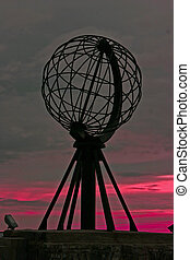 The North Cape globe at night