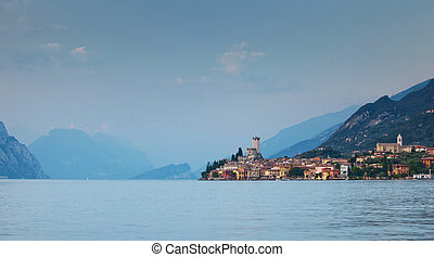 View on Malcesine and nord part of Garda lake, Italy
