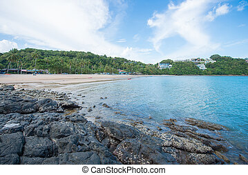 Rocky coastline on Ao Yon beach, Phuket, Thailand