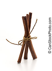 Cinnamon sticks - Bunch of cinnamon sticks with selective...