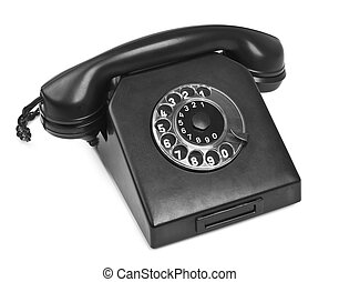 old bakelite telephone on white, natural shadow in front