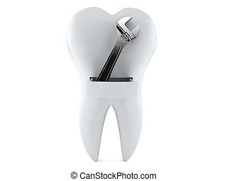 Tooth with adjustable wrench