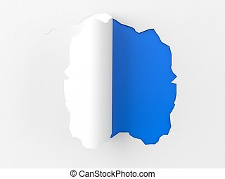 Torn paper on blue background