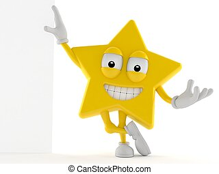 Star character leaning against a wall