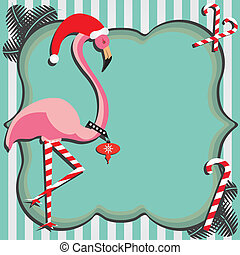 Flamingo Christmas Card - This flamingo dresses up in...