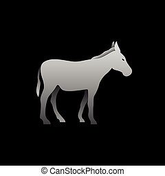 Silhouette of a gray donkey standing. Donkey side view...