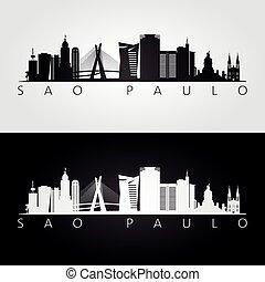 Sao Paulo skyline and landmarks silhouette