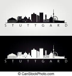 Stuttgart skyline and landmarks silhouette, black and white...