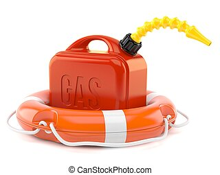 Gasoline canister with life buoy