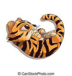 Tiger cub cartoon character playing with his tail - Cute...