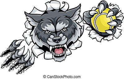 Wolf Tennis Mascot Breaking Background - A wolf angry animal...