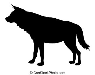 Hyena - Vector illustration of hyena side view silhouette