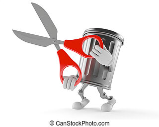 Trash can character holding scissors