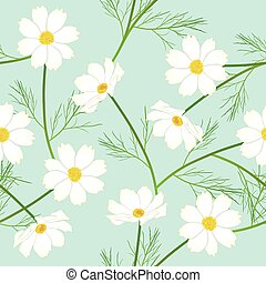 White Cosmos Flower on Green Mint Background. Vector Illustration