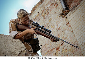 soldier - girl soldiers in uniform with weapon