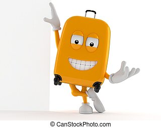 Suitcase character leaning against a wall